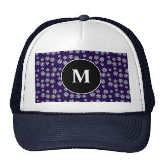 Blueish floral pattern with monogram trucker hats