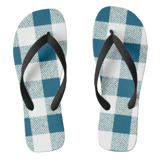 blueish green gingham check pattern flip flops