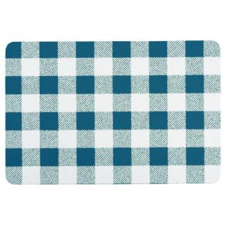 blueish green gingham check pattern floor mat