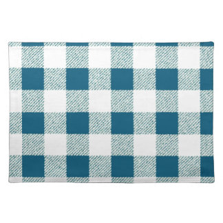 blueish green gingham check pattern placemat