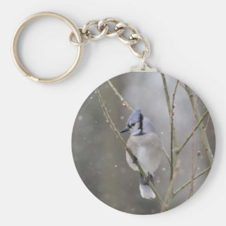 Bluejay in the snow keychain