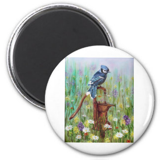 Bluejay: Peaceful Perch 2 Inch Round Magnet
