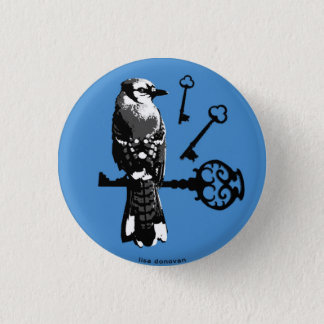 Bluejay w/ Keys 1 Inch Round Button