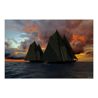 Bluenose at Sunset Poster