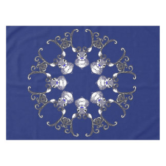 Bluenoser Blue  Reindeer deer snowflake tablecloth