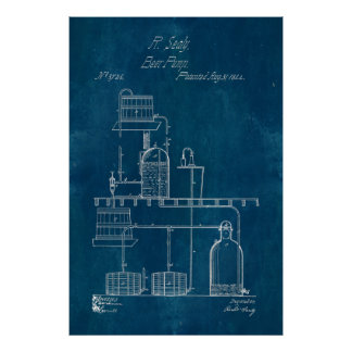 Blueprint Beer Making Equipment Poster