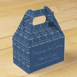 Blueprint Drawing Housewarming Blue and white Favor Box