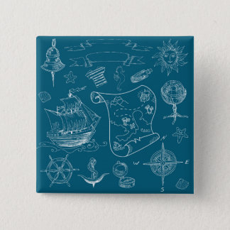 Blueprint Nautical Graphic Pattern 2 Inch Square Button