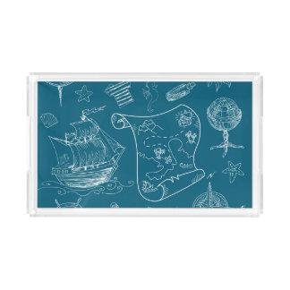 Blueprint Nautical Graphic Pattern Acrylic Tray
