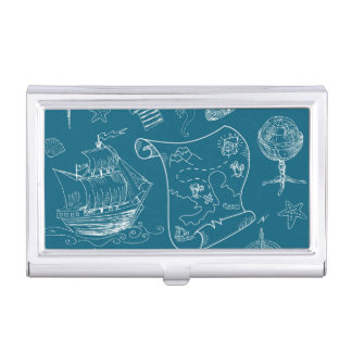 Blueprint Nautical Graphic Pattern Business Card Holder