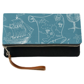 Blueprint Nautical Graphic Pattern Clutch