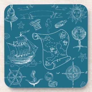 Blueprint Nautical Graphic Pattern Coaster