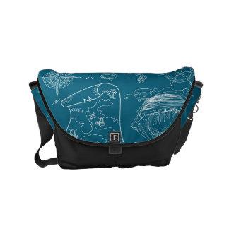 Blueprint Nautical Graphic Pattern Courier Bag
