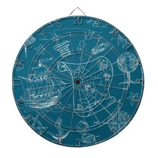 Blueprint Nautical Graphic Pattern Dartboard