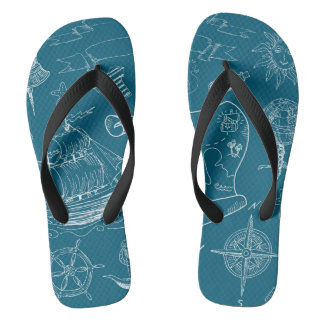 Blueprint Nautical Graphic Pattern Flip Flops