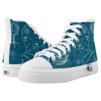 Blueprint Nautical Graphic Pattern High Tops