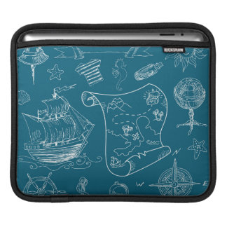 Blueprint Nautical Graphic Pattern iPad Sleeve