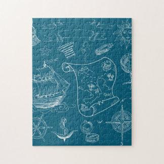 Blueprint Nautical Graphic Pattern Jigsaw Puzzle