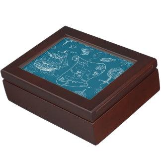 Blueprint Nautical Graphic Pattern Keepsake Box