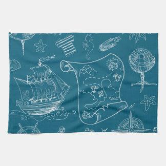 Blueprint Nautical Graphic Pattern Kitchen Towel