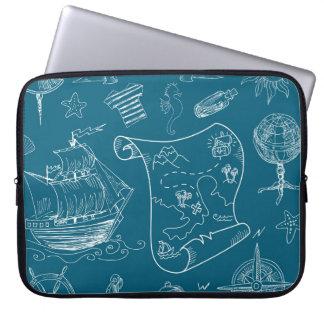 Blueprint Nautical Graphic Pattern Laptop Sleeve