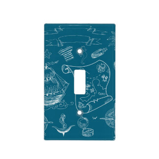 Blueprint Nautical Graphic Pattern Light Switch Cover