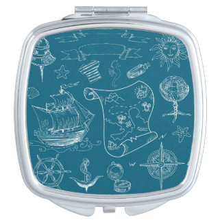Blueprint Nautical Graphic Pattern Makeup Mirrors