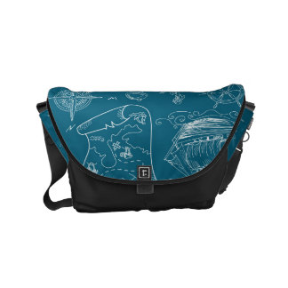 Blueprint Nautical Graphic Pattern Messenger Bag