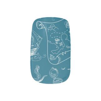 Blueprint Nautical Graphic Pattern Minx Nail Art