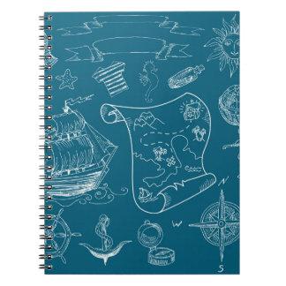 Blueprint Nautical Graphic Pattern Notebook