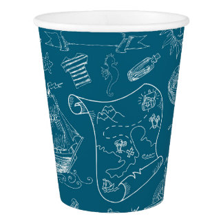Blueprint Nautical Graphic Pattern Paper Cup