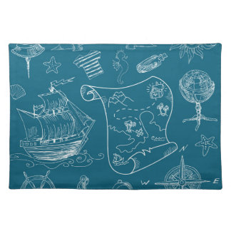 Blueprint Nautical Graphic Pattern Placemat