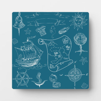 Blueprint Nautical Graphic Pattern Plaque