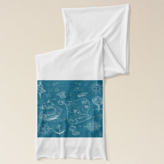 Blueprint Nautical Graphic Pattern Scarf