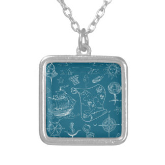 Blueprint Nautical Graphic Pattern Silver Plated Necklace