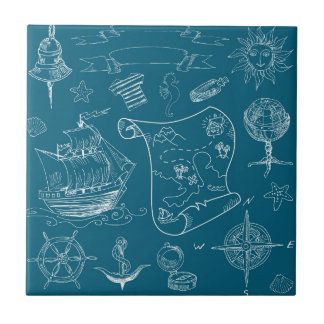 Blueprint Nautical Graphic Pattern Tile