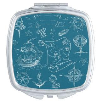 Blueprint Nautical Graphic Pattern Travel Mirror