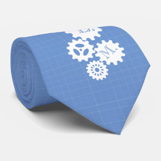 Blueprint Style Engineer Monogram Skyblue Tie