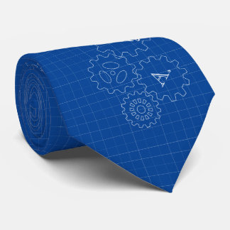Blueprint Style Engineer Monograms Tie