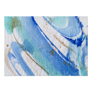 Blues 003 Abstract Watercolor Textured Paper Poster