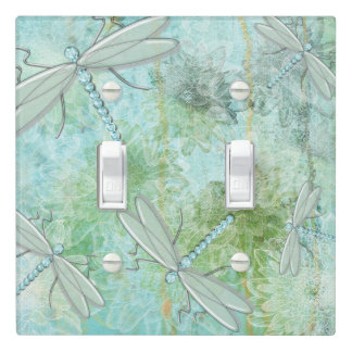 Blues And Green Dragonfly Light Switch Cover