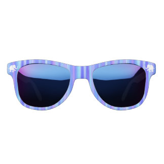 Blues and Purples Stripes with White Elephants Sunglasses