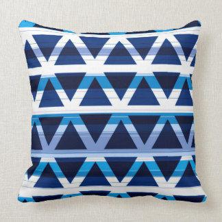 Blues and White Modern Triangle Pattern Throw Pillow