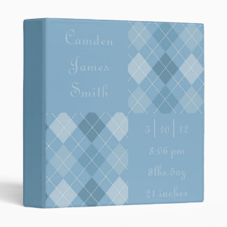 Blues Argyle Baby Book Binders