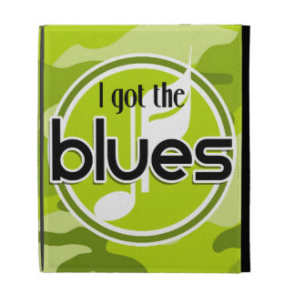 Blues bright green camo camouflage iPad folio cases