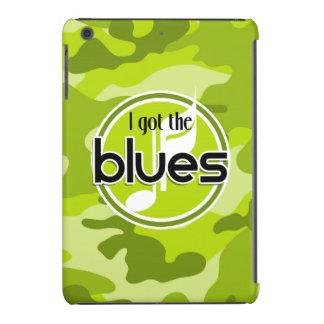 Blues; bright green camo, camouflage iPad mini case