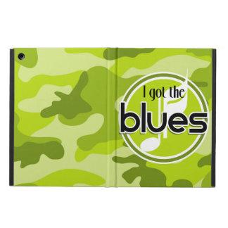 Blues bright green camo camouflage iPad air case