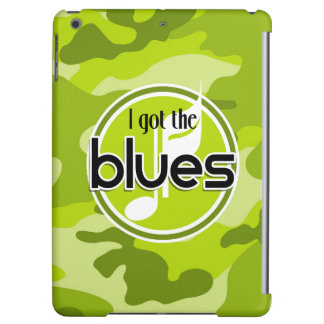 Blues bright green camo camouflage iPad air cover