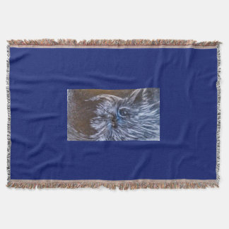 Blues Cat art by cfw Throw Blanket