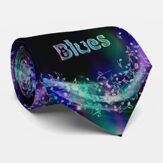 Blues Music Notes Psychedelic Music Necktie